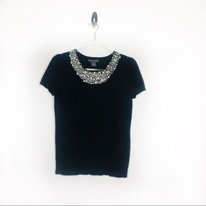 Chelsea & Theodore Black Pearl Neck Sweater S